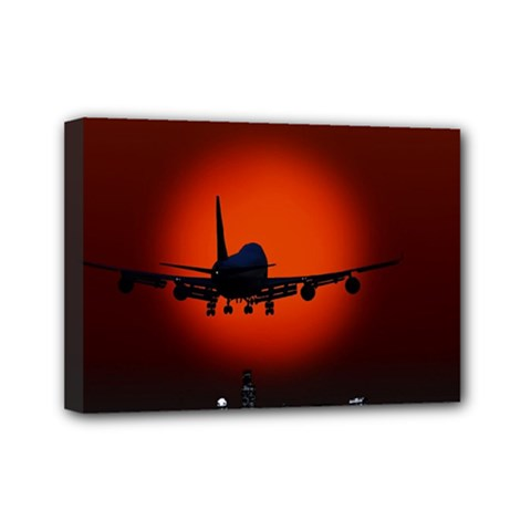Red Sun Jet Flying Over The City Art Mini Canvas 7  X 5