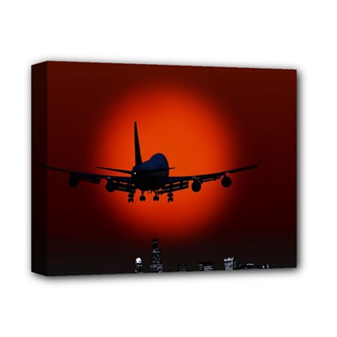 Red Sun Jet Flying Over The City Art Deluxe Canvas 14  X 11