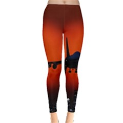 Red Sun Jet Flying Over The City Art Leggings