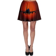 Red Sun Jet Flying Over The City Art Skater Skirt