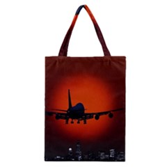 Red Sun Jet Flying Over The City Art Classic Tote Bag