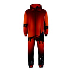 Red Sun Jet Flying Over The City Art Hooded Jumpsuit (kids)
