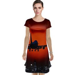 Red Sun Jet Flying Over The City Art Cap Sleeve Nightdress