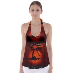 Red Sun Jet Flying Over The City Art Babydoll Tankini Top