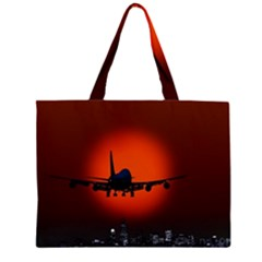 Red Sun Jet Flying Over The City Art Large Tote Bag