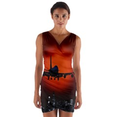 Red Sun Jet Flying Over The City Art Wrap Front Bodycon Dress