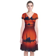 Red Sun Jet Flying Over The City Art Short Sleeve Front Wrap Dress