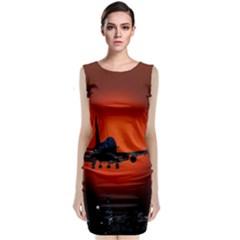 Red Sun Jet Flying Over The City Art Sleeveless Velvet Midi Dress
