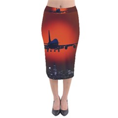 Red Sun Jet Flying Over The City Art Velvet Midi Pencil Skirt