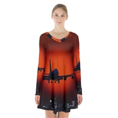 Red Sun Jet Flying Over The City Art Long Sleeve Velvet V Neck Dress