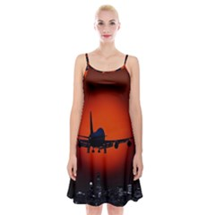 Red Sun Jet Flying Over The City Art Spaghetti Strap Velvet Dress