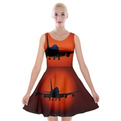 Red Sun Jet Flying Over The City Art Velvet Skater Dress