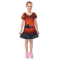 Red Sun Jet Flying Over The City Art Kids  Short Sleeve Velvet Dress
