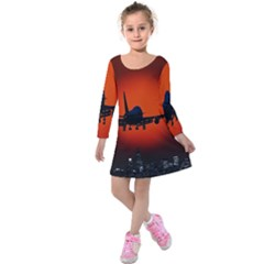 Red Sun Jet Flying Over The City Art Kids  Long Sleeve Velvet Dress