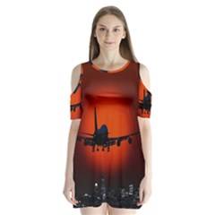 Red Sun Jet Flying Over The City Art Shoulder Cutout Velvet  One Piece