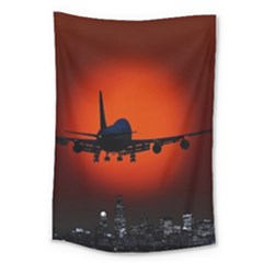 Red Sun Jet Flying Over The City Art Large Tapestry