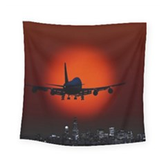 Red Sun Jet Flying Over The City Art Square Tapestry (small)