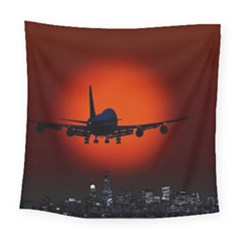 Red Sun Jet Flying Over The City Art Square Tapestry (large)