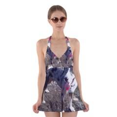 Catahoula Leopard Dog Blue Full Halter Swimsuit Dress