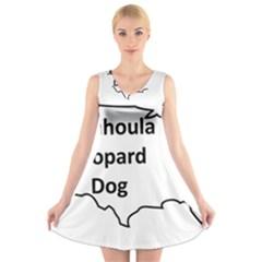 Catahoula Leopard Dog United States Outline V-Neck Sleeveless Skater Dress
