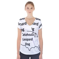 Catahoula Leopard Dog United States Outline Short Sleeve Front Detail Top
