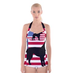 Catahoula Leopard Dog Silo Usa Flag Boyleg Halter Swimsuit