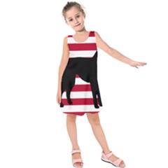 Catahoula Leopard Dog Silo Usa Flag Kids  Sleeveless Dress