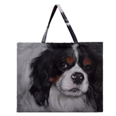 Cavalier King Charles Spaniel Tri Zipper Large Tote Bag