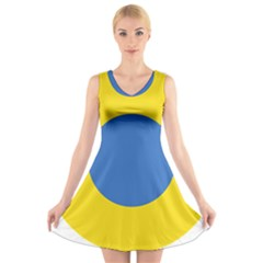 Ukrainian Air Force Roundel V-Neck Sleeveless Skater Dress