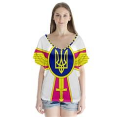 Emblem of The Ukrainian Air Force Flutter Sleeve Top