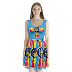Ensign of The Ukrainian Air Force Split Back Mini Dress