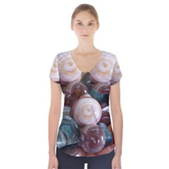 Rain Flower Stones Is A Special Type Of Stone Short Sleeve Front Detail Top