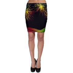 Rainbow Fireworks Celebration Colorful Abstract Bodycon Skirt