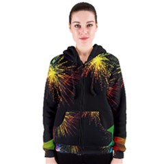 Rainbow Fireworks Celebration Colorful Abstract Women s Zipper Hoodie