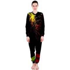 Rainbow Fireworks Celebration Colorful Abstract Onepiece Jumpsuit (ladies)