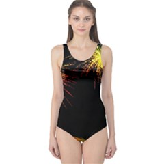 Rainbow Fireworks Celebration Colorful Abstract One Piece Swimsuit