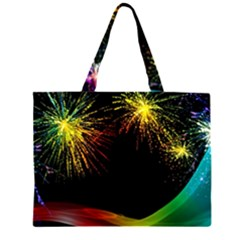 Rainbow Fireworks Celebration Colorful Abstract Large Tote Bag