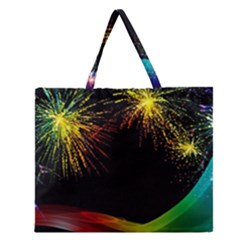 Rainbow Fireworks Celebration Colorful Abstract Zipper Large Tote Bag