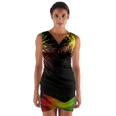 Rainbow Fireworks Celebration Colorful Abstract Wrap Front Bodycon Dress