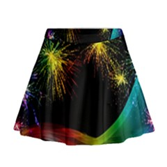 Rainbow Fireworks Celebration Colorful Abstract Mini Flare Skirt