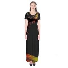 Rainbow Fireworks Celebration Colorful Abstract Short Sleeve Maxi Dress