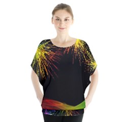 Rainbow Fireworks Celebration Colorful Abstract Blouse