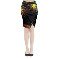 Rainbow Fireworks Celebration Colorful Abstract Midi Wrap Pencil Skirt