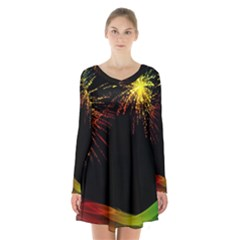 Rainbow Fireworks Celebration Colorful Abstract Long Sleeve Velvet V Neck Dress