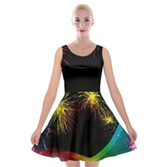 Rainbow Fireworks Celebration Colorful Abstract Velvet Skater Dress