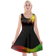 Rainbow Fireworks Celebration Colorful Abstract Reversible Velvet Sleeveless Dress