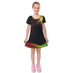 Rainbow Fireworks Celebration Colorful Abstract Kids  Short Sleeve Velvet Dress