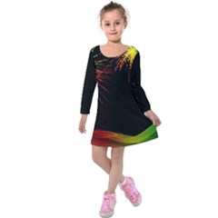Rainbow Fireworks Celebration Colorful Abstract Kids  Long Sleeve Velvet Dress