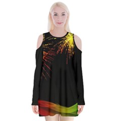 Rainbow Fireworks Celebration Colorful Abstract Velvet Long Sleeve Shoulder Cutout Dress
