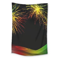 Rainbow Fireworks Celebration Colorful Abstract Large Tapestry